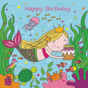 LIL13 - Girls Happy Birthday Card Mermaid